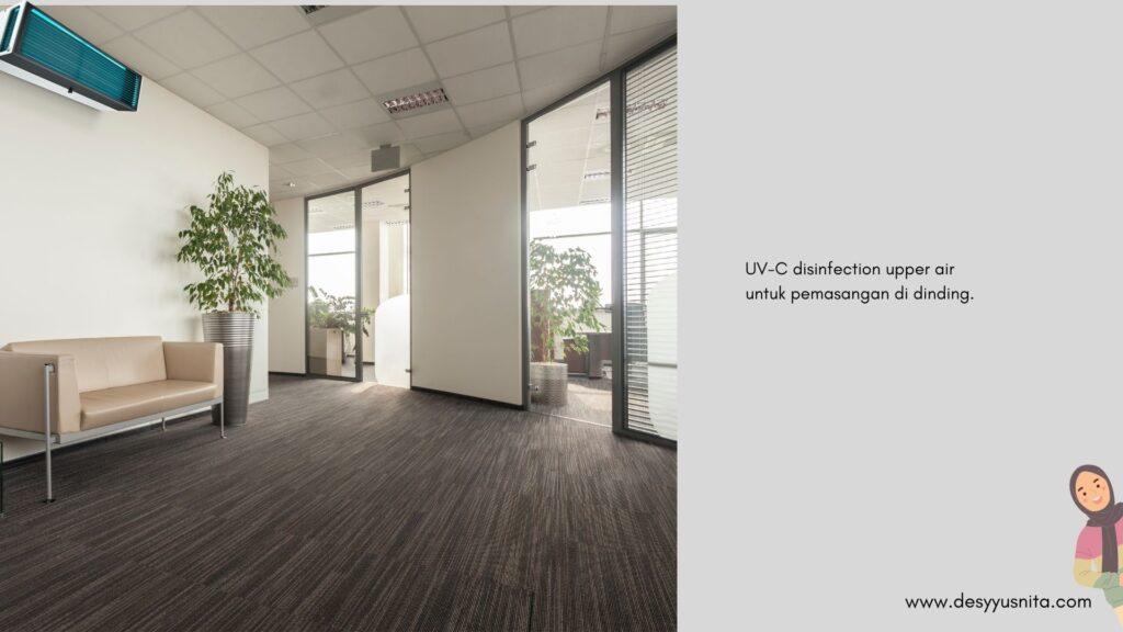UV-C disinfection upper air untuk pemasangan di dinding untuk desinfeksi udara